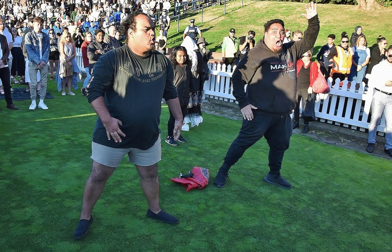 An image of an impromptu haka from members of the crowd