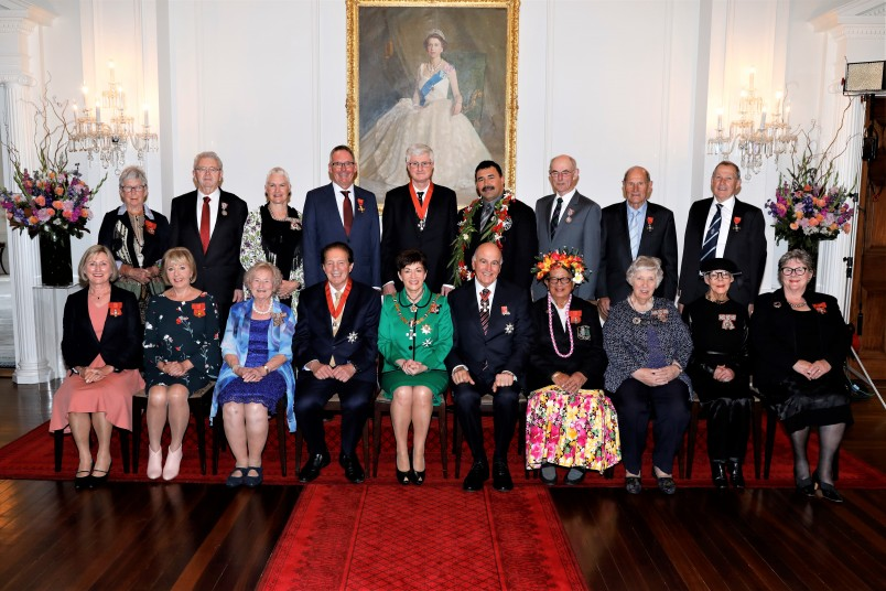 Dame Patsy and Sir David with investiture recipients
