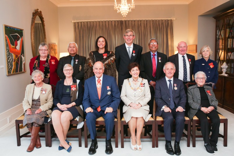 Image of recipients with Dame Patsy and Sir David following the ceremony