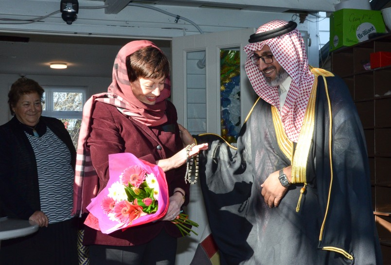 Mushabab Aiban of the Muslim World League presented Dame Patsy with prayer beads