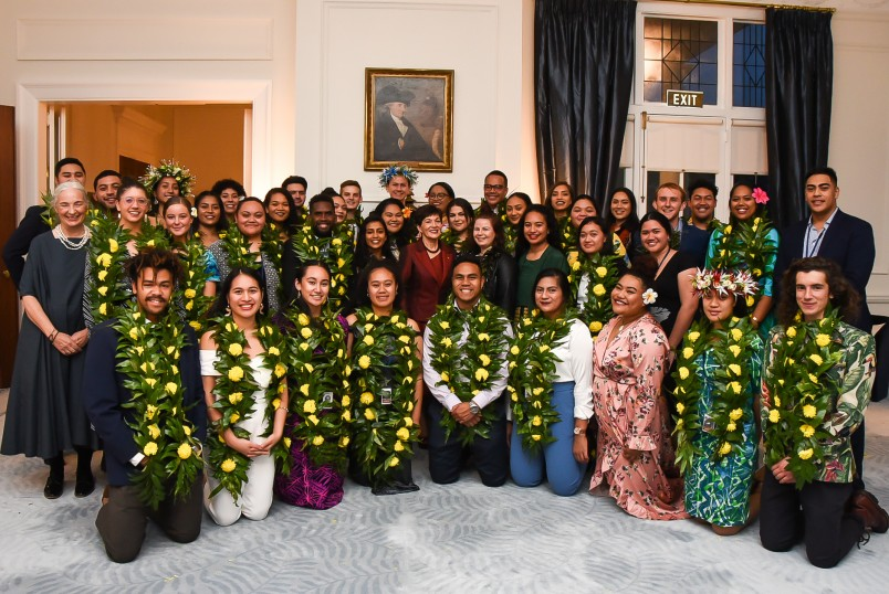 Dame Patsy with the young men and women who took part in the KiMuaNZ workshop