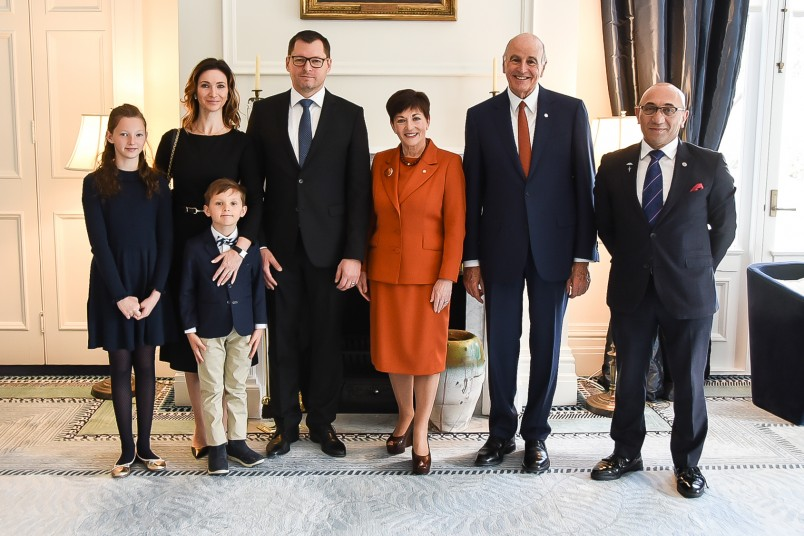 IMage of Dame Patsy and Sir David with HE Mr Tomas Ferko, Ambassador of the Slovak Republic, his wife and children and Minster of Defence and Veterans Affairs, Hon Ron Mark