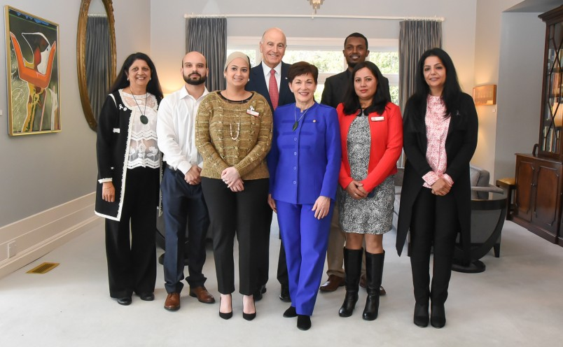 Dame Patsy and Sir David with Gandhi Nivas counselling staff