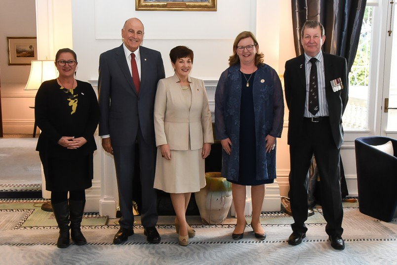mage of Dame Patsy and Sir David with Kerry Nickels, NZ Red Cross National President; Andrew McKie, National Response Manager; and Vivienne Euini, GM International