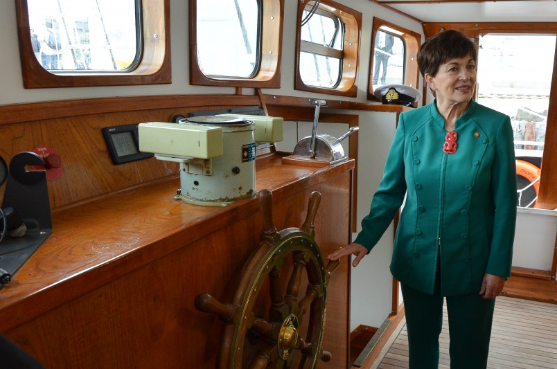 Image of Dame Patsy on the bridge of the 'Spirit of New Zealand'