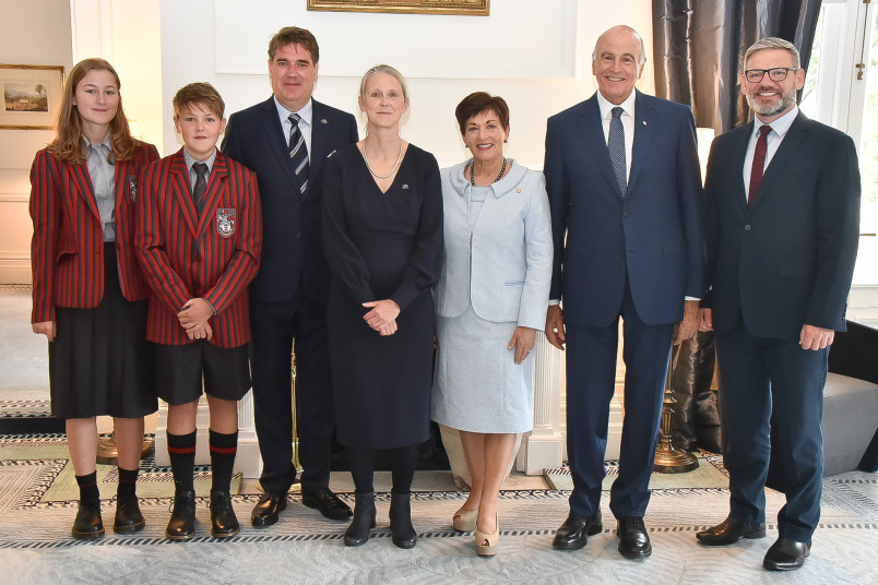 HE Ms Nina Obermaier and family with Their Excellencies and Hon Iain Lees-Galloway