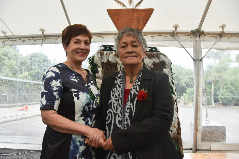 Image of Dame Patsy with Rose Bittle, who wove the korowai