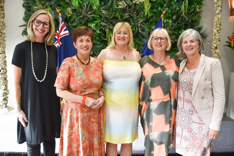 Image of Dame Patsy with Vicki Saunders, SheEO Founder; Theresa Gattung, New Zealand lead for SheEO, Chris Woodwiss of SheEO and Sue de Bievre, CEO of Beany
