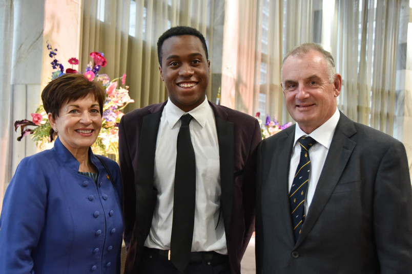 Dame Patsy Reddy with Trevor Mallard and Kii Winston Small