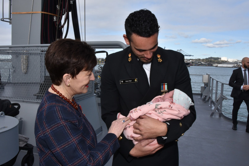 Image of Dame Patsy with a nine-day old baby