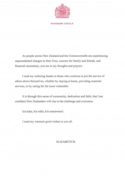 Message from HM Queen Elizabeth to mark the 10th anniversary of the Christchurch earthquake