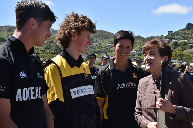 Dame Patsy Reddy with the cricket captains