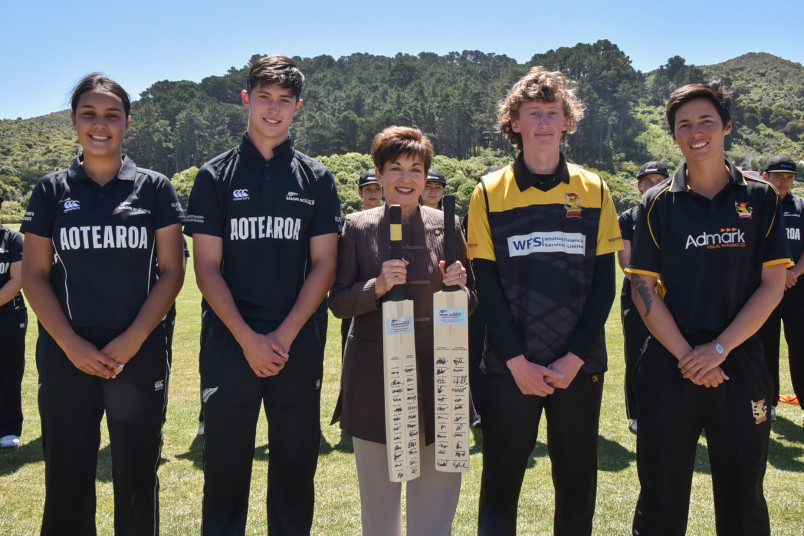 The four captains with Dame Patsy Reddy