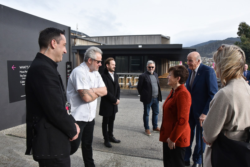 Image of Dame Patsy meeting New Zealander Vinnie Trim,  Executive Chef at MONA - The Museum of Old and New Art