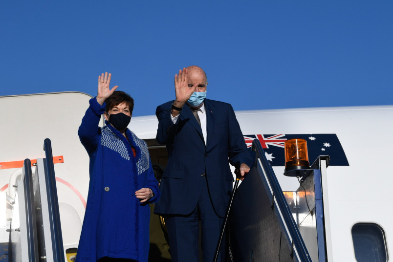 Image of Dame Patsy and Sir David leaving Canberra