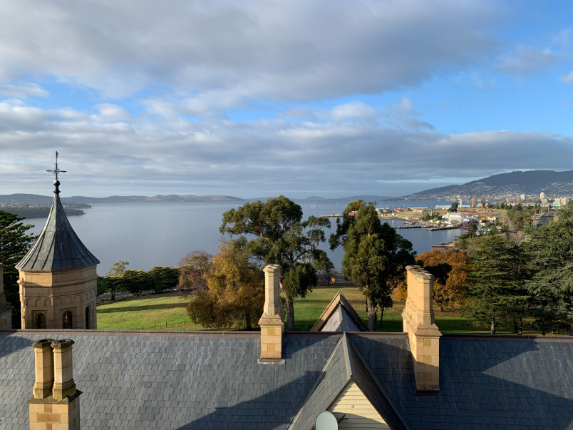 Image of the view from the tower of Government House in Hobart