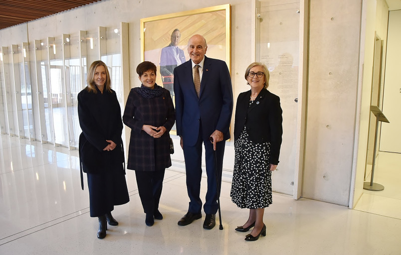 Image of Dame Patsy and Sir David with Gallery Director Karen Quinlan and Australian High Commissioner to New Zealand HE Patricia Forsythe