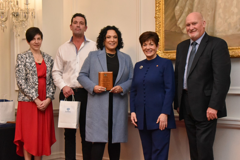 Dame Patsy Reddy with Caroline Roe and David Roe