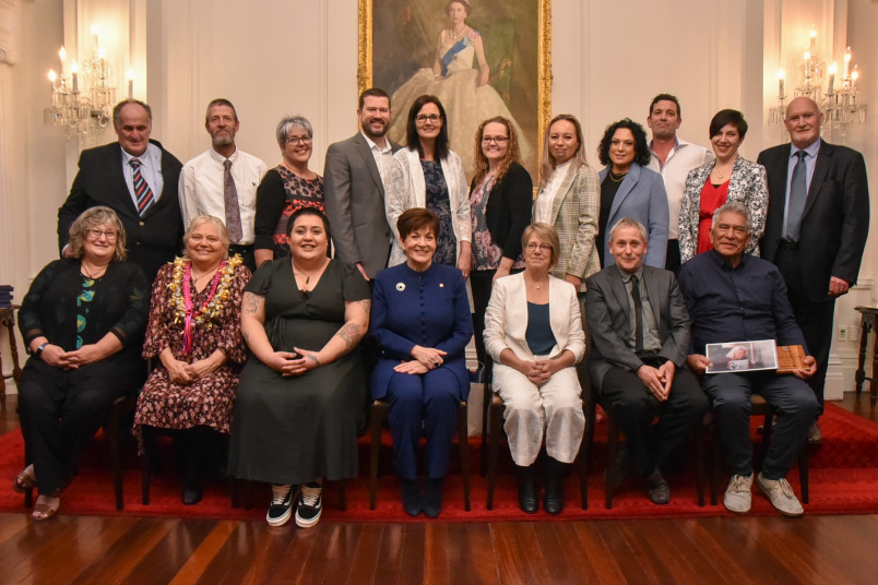 Dame Patsy Reddy with the winners of the Excellence in Foster Care Awards