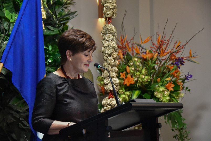 Dame Patsy Reddy speaks at a lectern