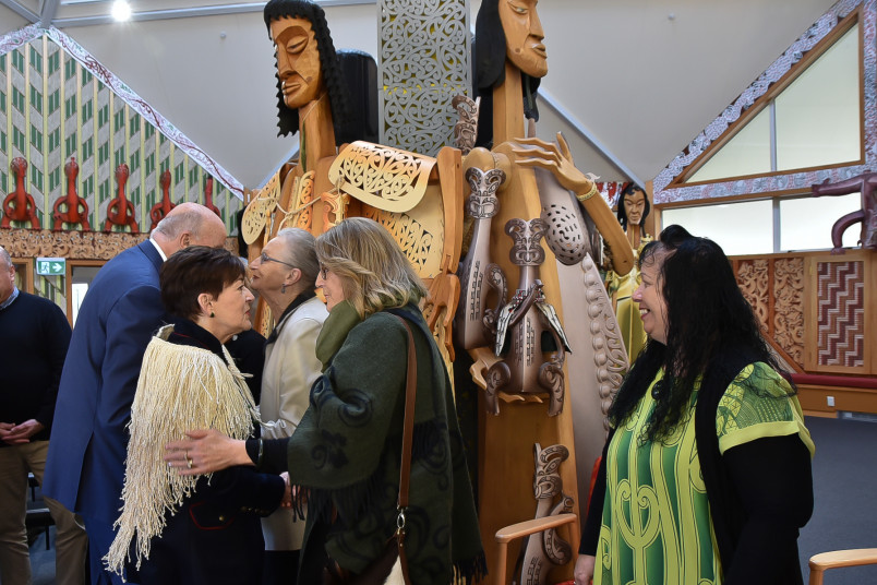 Dame Patsy and Cliff Whiting's sculptures at Te Rau Aroha