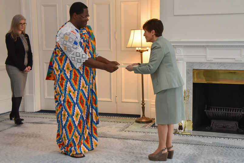 HE Dr Joseph Nii Sai Coffie-Agoe presents credentials to Dame Patsy Reddy