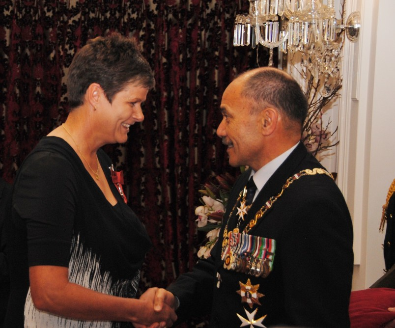 Jo Edwards receives the insignia of a Member of the New Zealand Order of Merit for services to lawn bowls, 2014