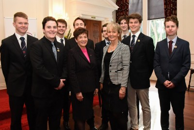 An image of Dame Patsy with students from Lindisfarne College