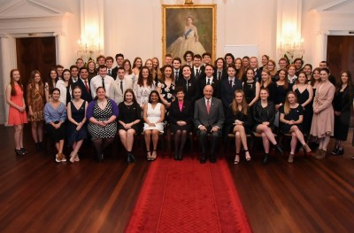 An image of Their Excellencies with the recipients of Duke of Edinburgh Hillary Gold Awards