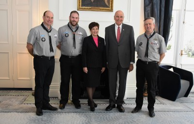 An image of Their Excellencies with the official party from Scouting NZ