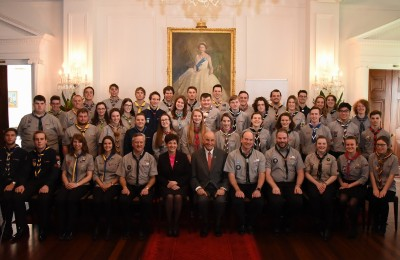 An image of Their Excellencies with Queen's Scout Award recipients