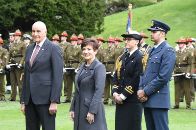 Image of Dame Patsy and Sir David awaiting the arrival of the President of the Republic of Croatia