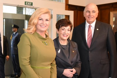 Image of HE Dame Patsy Reddy and Sir David Gascoigne with the President of the Republic of Croatia,Her Excellency Kolinda Grabar-Kitarovic