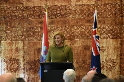 Image of President of the Republic of Croatia,Her Excellency Kolinda Grabar-Kitarovic speaking at the luncheon