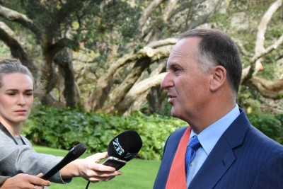Image of The Rt Hon Sir John Key being interviewed after his investiture