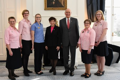 An image of Dame Patsy and representatives of GirlGuides NZ