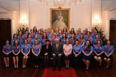 An image of Their Excellencies with Queen's Guides