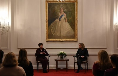 Image of Dame Patsy Reddy being interviewed at the Women in Law forum by Jenny Stevens