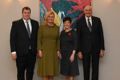 An image of Their Excellencies with HE Kolinda Grabar Kitarovic and Mr Jakov Kitarovic