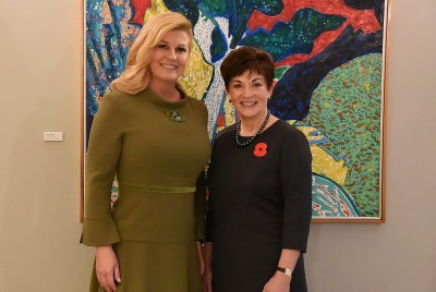An image of Dame Patsy with HE Kolinda Grabar Kitarovic, President of the Republic of Croatia