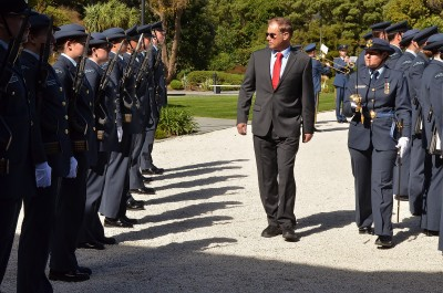an image of HE Mr Marc Mullie, Ambassador of the Kingdom of Belgium inspecting the Guard of Honour