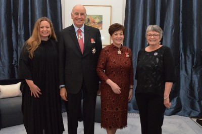 an image of Their Excellencies with Dr Lesley Rhodes, CNZM and Sido Kitchin