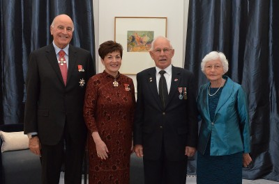 an image of Their Excellencies with Barry Pomeroy, QSM and Gae Pomeroy