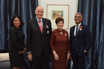 an image of Their Excellencies with Robert Khan, MNZM and Prakashni Khan