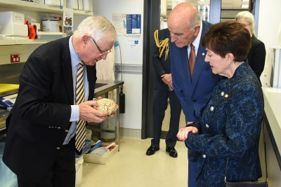 Image of Prof. Sir Richard Faull showing Dame Patsy and Sir David a plastinated human brain