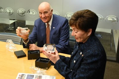 Image of Dame Patsy and Sir David receiving a gift
