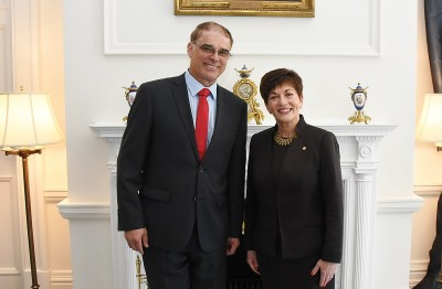 Image of HE The Rt Hon Dame Patsy Reddy with HE Mr Marc Mullie, Ambassador of the Kingdom of Belgium