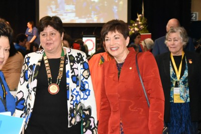 an image of Dame Patsy with President of the League, Prue Kapua