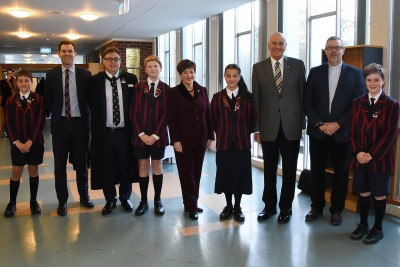 an image of Their Excellencies with Mayor Justin Lester and staff and pupils