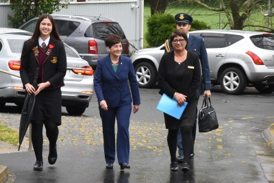 an image of Dame Patsy's arrival at Hamilton Girls High School